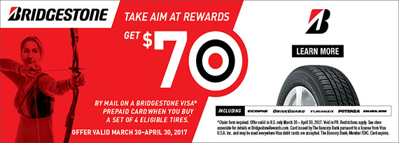 Bridgestone Spring Rewards - $70